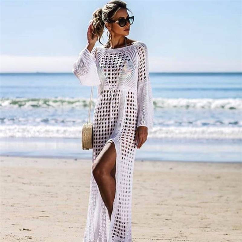 2019 <strong>Sexy</strong> White Crochet Bikini Covers-Up Beach Coat Swimsuit Cover-Ups Lace Beachwear Knitted Bikini Cover-up Long Beach Dress