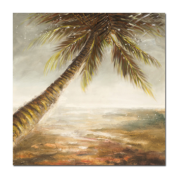 Coconut tree seaside abstract printing plus handmade Modern Chinese Large Canvas Wall Art Canvas Painting