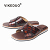 Vikeduo Hand Made Mens Novelty Real Crocodile Leather Designer Fat Mens Casual Brown Dress Shoes Sandals