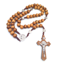 Wood Beaded Prayer Jewelry Wooden Bead Necklace Jesus Charm Religious Women's Silver Rosary Necklace