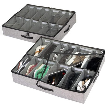 Hot Products Shoe Storage Bag Shoes Box Space Saving Adjustable Shoe Organizer Under Bed
