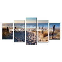 5 Pieces Sea Sand Beach Wooden Bridge Landscape Picture for Living Room Office Wall Decor Canvas Print Drop Shipping