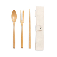 Bamboo Traveling Cutlery Bag Portable Cutlery Set With Case