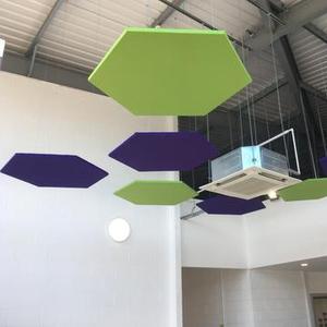 Ceiling design for house decor suspended baffle ceiling hexagon shape acoustic panel