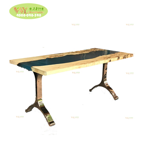 Epoxy resin wood table river edge walnut slab table with metal base