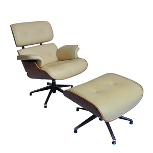 Factory Direct Made Rosewood / Walnut veneer Lounge Leather Chair fauteuil lounge with Footrest