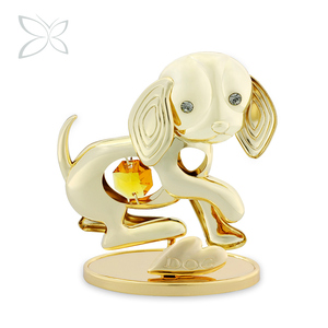 Crystocraft Wholesale Metal Dog Decorated with Crystals from Swarovski Feng Shui Chinese Zodiac Dog Figurines