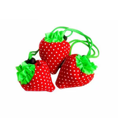 Stock new design eco promotional strawberry  foldable polyester nonwoven shopping  bags