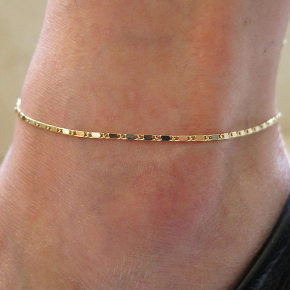 Simple Thin Silver Gold Chain Color Anklet Women Small Ankle Bracelet Barefoot Sandal Beach Foot Jewelry
