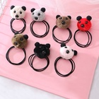 Panda Pompom Ball Ponytail Holders Branded Elastic Rubber Hair Band for Women
