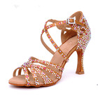 HH090 Ebay Satin Upper Rhinestone Sandals Dance Shoes Woman Shoes Heel Gold 90mm Girls Latin Dance Shoes