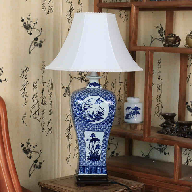 Bedside Ceramic Table Lamps Blue White