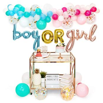Gender Reveal Party Supplies Decorations for boy or girl with balloons in pink gold and blue foil, garland of balloons
