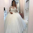 Princess Style Low Back Pattern Tulle Bridal Wedding Dress Gowns with Good Reviews