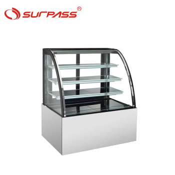 Nice quality  Curved bakery glass chocolate display cooler showcase