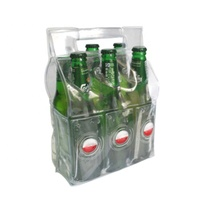 Custom logo 6 bottle beers PVC gel wine cooler bag