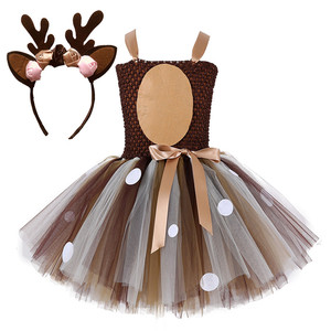 Deer Tutu Dress sleeveless for kids baby girls Halloween Costume cosplay summer dress 2 to 14 year With Headband