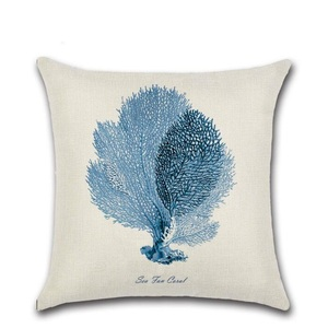 Hand Painted Ocean Animal Theme Cotton Linen Decorative Cushion Cover