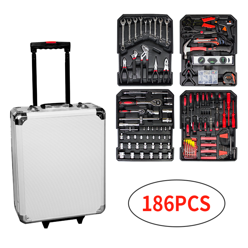 186pcs multifunctional Tool Set with tools Mechanics Wrenches Silver aluminum box Trolley Telescopic