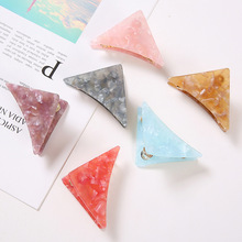 New Design 핫 세일 Geometric 아세테이트 아크릴 Hairclips Multi Color 아크릴 Triangle Hair Claw Clip
