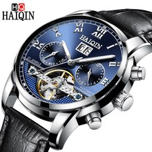 Haiqin หนัง<span class=keywords><strong>นาฬิกา</strong></span>ผู้ชายปฏิทิน Relogio MasculinoTop Luxury Brand Skeleton Tourbillon Mens Mechanical <span class=keywords><strong>นาฬิกา</strong></span>