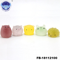 2019 new wholesale cheap Glitter mini mochi squishies toys, kawaii squishy animals stress reliever toys for kids