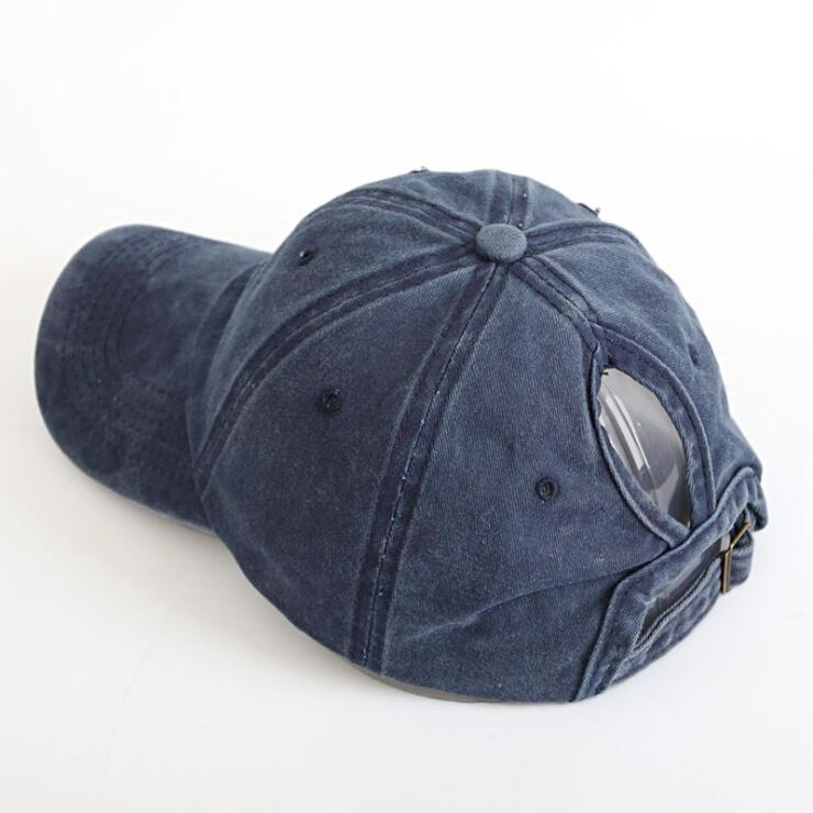 Distressed Retro Washed Cotton Twill Messy High Bun Ponytail Baseball <strong>Hat</strong> for Women