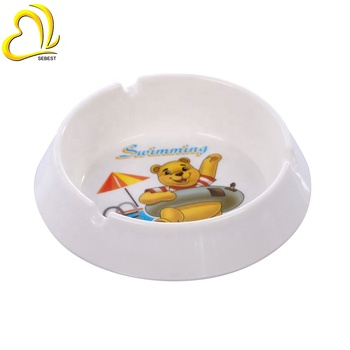 bear cartoon picture white pocket ashtray round