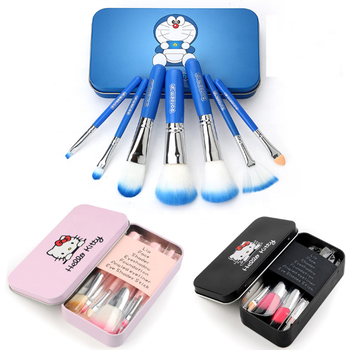 7Pcs Mini Professional cute Cosmetics Make Up Brushes Set Hello Kitty Makeup Brush Set