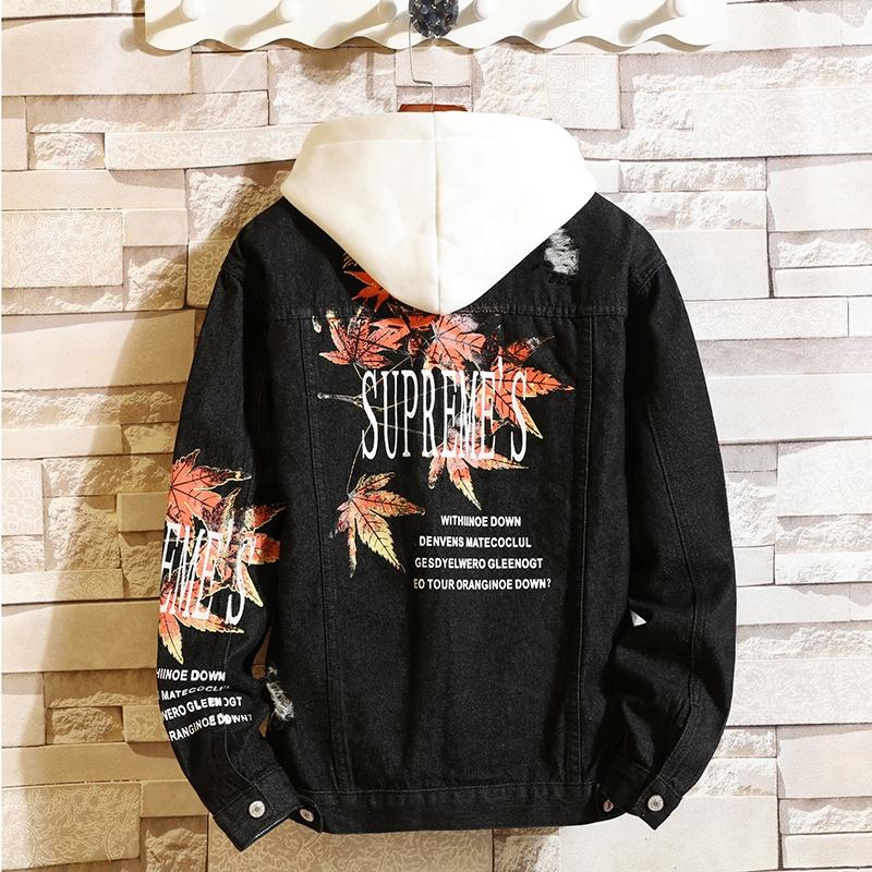 Custom distressed black Neutral denim jacket for women and men