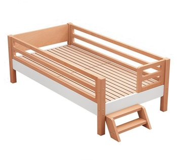 Mixed Color Solid Wood Beech Single Bed Kids Toddler Bed With Ladder Attach To Bed Kids Bedroom Furniture