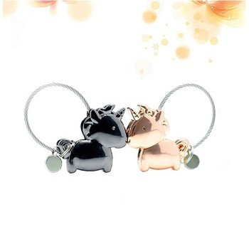 Mework Supplies Set Birthday Girl Gift Metal Silver Chrome Unicorn keychain Couple Keyring Set Hot