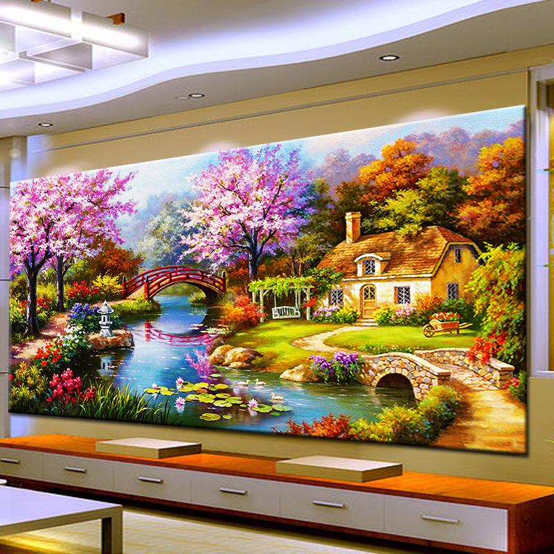 Arts Crafts Diy Diamond Painting Cross Stitch Dream Home Diamond Embroidery Cabin Scenery Rubik's Cube Drill <strong>Picture</strong>
