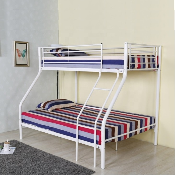 Kids Sturdy White Iron Steel Bed Frame Children Twin Over Full