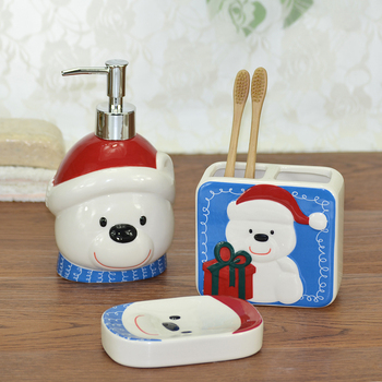 Cartoon arctic polar bear embossed ceramic christmas bathroom set