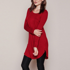 ladies tunic top wholesale plain tunic tops long burgundy long sleeve curved hem womens long tunics