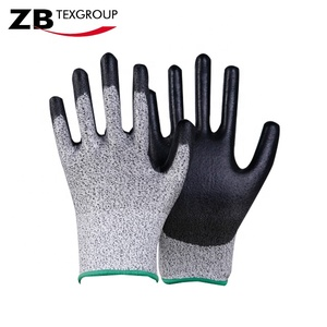 EN388 4343 15 gauge cut 3 Anti oil cut resistant Nitrile coated palm safety working gloves