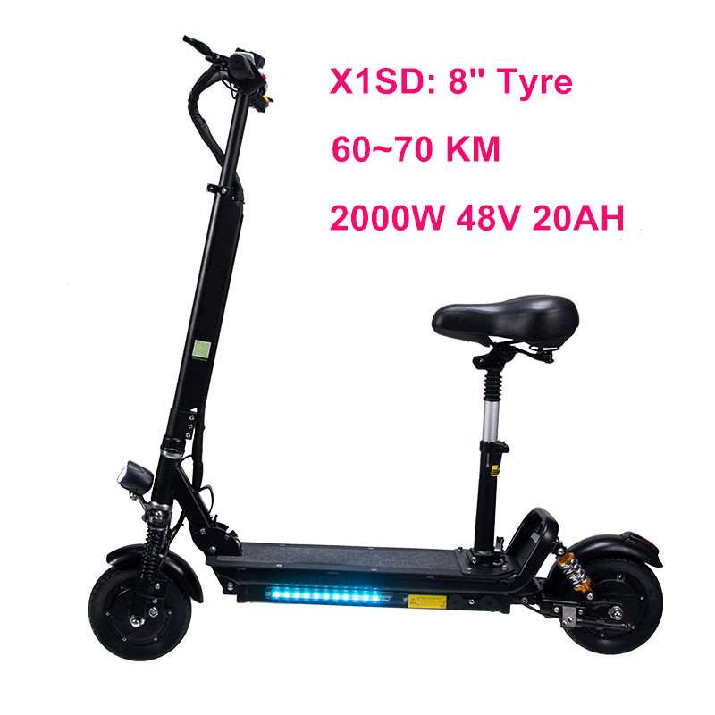 2000W 48V 20AH Electric Scooter with Disc brake+Electronic blackout brake 8 inch Non-pneumatic Tires Electric Scooter