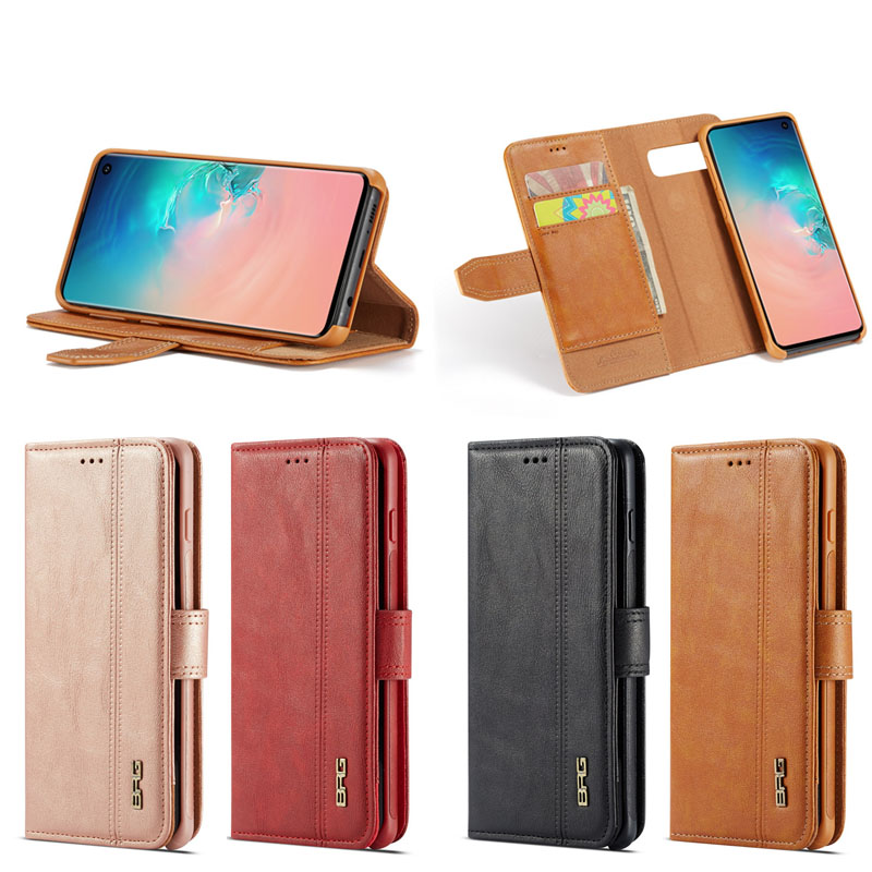 BRG Luxury Genuine Leather Pattern Flip Phone Case for Samsung Galaxy S10 S10 Plus S10e with Detachable Back Cover, Various
