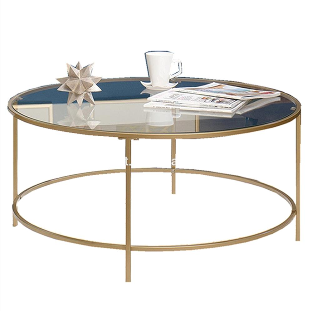- Home Furniture Round Tea Table Glass Top Coffee Table In Satin