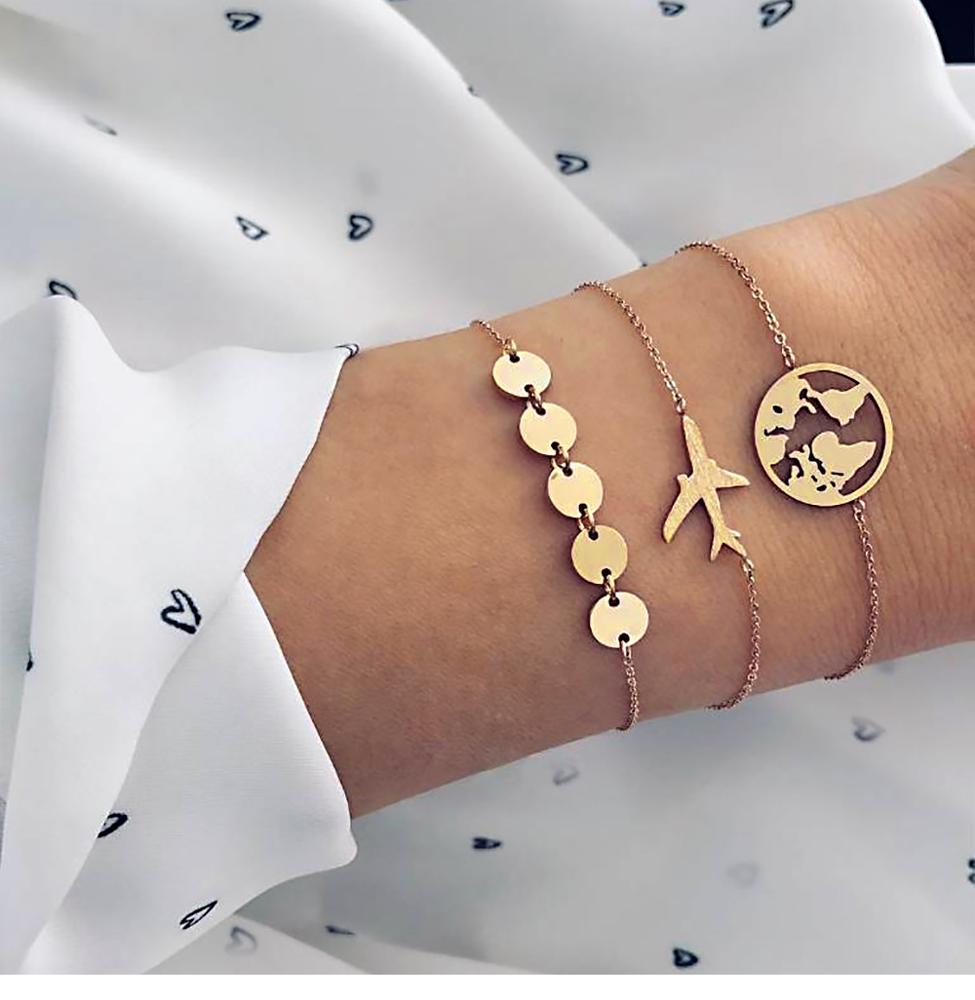 Bohemian style aircraft map charm bracelet 3pc/set female multi-layer gold chain bracelet jewelry фото