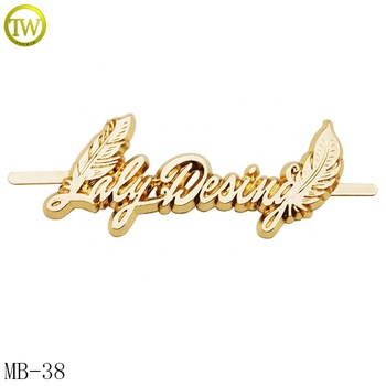 Custom Gold Plated Letters Metal Brand Logo Label for Bags / Shoes