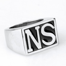 New fashion 싼 316L Stainless 스틸 ngagement s letter 링 대 한 men