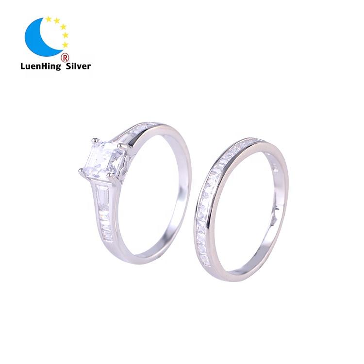 8818bbd1b9e7 Venta al por mayor noble joyas de zirconia cúbica de plata 925 diamante  doble boda anillo