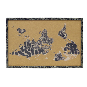 Double sides world map printed notice cork board in wooden frame