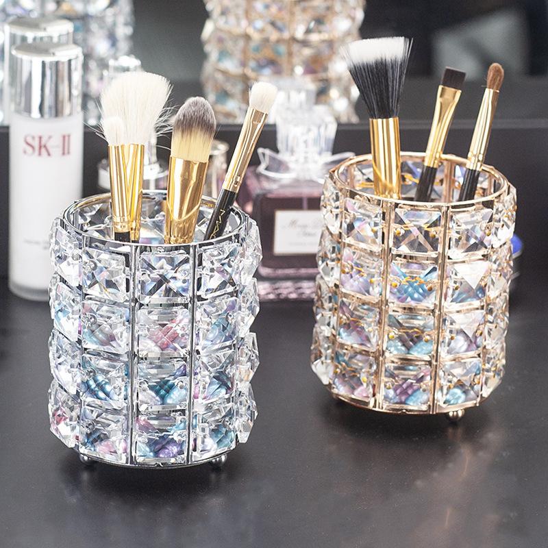 Alibaba.com / European crystal pen holder makeup brush storage tube desktop dressing table glass eyebrow pencil storage brush barrel