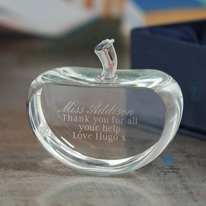fashion crystal glass paperweight laser engraved glass apple paperweight