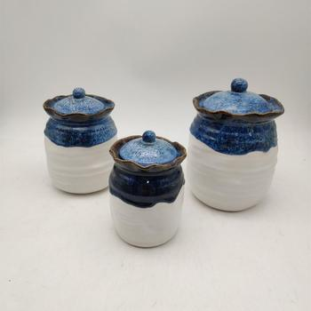 blue glazed ceramic porcelain tea coffee sugar storage jar with lid