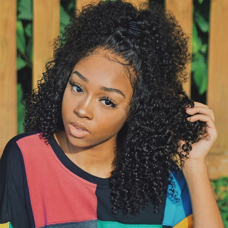 360 Lace Front Wigs Deep Brazilian Glue less Full Lace Frontal Wig Plucked Curly with Baby Hair 180% Density