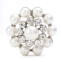 24 mm Silver Round Flower Shape Rhinestone Embellishment Flatback DIY Accessories pearl snap button